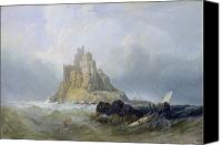 Ruin Painting Canvas Prints - Saint Michaels Mount in Cornwall  Canvas Print by William Clarkson Stanfield