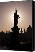 Charles Bridge Canvas Prints - Saint Canvas Print by Michal Boubin