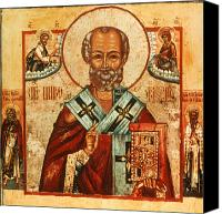 Byzantine Icon Canvas Prints - Saint Nicholas Canvas Print by Granger