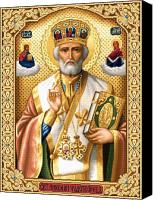 Saint  Canvas Prints - Saint Nicholas Canvas Print by Stoyanka Ivanova