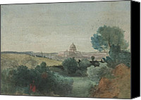 Vatican Painting Canvas Prints - Saint Peters seen from the Campagna Canvas Print by George Snr Inness
