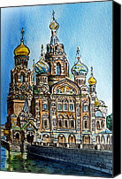 Church On Spilled Blood Canvas Prints - Saint Petersburg Russia The Church of Our Savior on the Spilled Blood Canvas Print by Irina Sztukowski