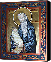 Icon Byzantine Canvas Prints - Saint Stelian - patron of children Canvas Print by Iconos Art