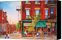 Montreal Restaurants Canvas Prints - Saint Viateur Bagel Canvas Print by Carole Spandau