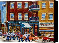 Montreal Street Life Canvas Prints - Saint Viateur Bagel With Hockey Canvas Print by Carole Spandau