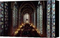 Religious Structures Canvas Prints - Sainte-chapelle Interior Showing Canvas Print by James L. Stanfield