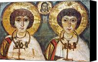 Byzantine Icon Canvas Prints - Saints Sergius And Bacchus Canvas Print by Granger