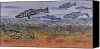 Fishing Tapestries - Textiles Canvas Prints - Salmon in the Stream Canvas Print by Carolyn Doe