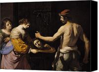 Guercino Canvas Prints - Salome Receiving the Head of St John the Baptist Canvas Print by Giovanni Francesco Barbieri