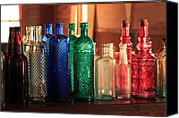 Glass Bottles Canvas Prints - Saloon bottles Canvas Print by Toni Hopper