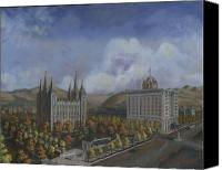 Mormon Painting Canvas Prints - Salt Lake City Temple Square Nineteen Twelve Right Panel Canvas Print by Jeff Brimley