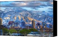 Snowy Night Canvas Prints - Salt Lake City Utah USA Canvas Print by Utah Images