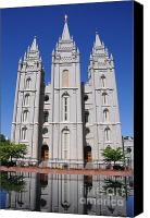 Angel Moroni Canvas Prints - Salt Lake Mormon Temple Canvas Print by Gary Whitton
