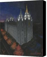 Mormon Painting Canvas Prints - Salt Lake Temple Christmas Canvas Print by Jeff Brimley