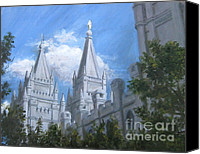 Lds Canvas Prints - Salt Lake Temple Canvas Print by Nik English