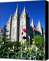 Angel Moroni Canvas Prints - Salt Lake Temple Canvas Print by Robert Gallup