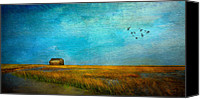 Barn Mixed Media Canvas Prints - Salt Marsh Canvas Print by Michael Petrizzo