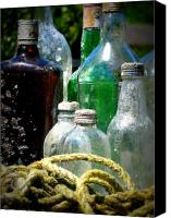 Glass Bottles Canvas Prints - Salvaged from the Sea I Canvas Print by Mg Rhoades