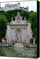 Austrian Canvas Prints - Salzburg Castle with Fountain Canvas Print by Carol Groenen