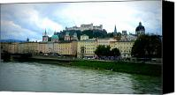 Danube Canvas Prints - Salzburg over the Danube Canvas Print by Carol Groenen
