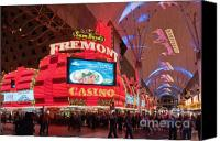Night Photo Canvas Prints - Sam Boyds Fremont Casino Canvas Print by Andy Smy