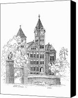 Eagle Drawings Canvas Prints - Samford Hall Canvas Print by Barney Hedrick