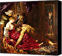 Semi Nude Canvas Prints - Samson and Delilah Canvas Print by Pg Reproductions