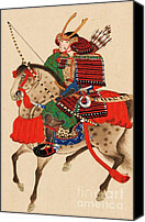 Armor Canvas Prints - Samurai On Horseback Canvas Print by Pg Reproductions