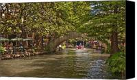 San Antonio Canvas Prints - San Antonio Riverwalk Canvas Print by Steven Sparks