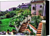 Clemente Digital Art Canvas Prints - San Clemente Estate Backyard Canvas Print by Kathy Tarochione