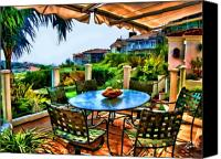 Clemente Digital Art Canvas Prints - San Clemente Estate Patio 2 Canvas Print by Kathy Tarochione