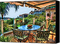 Clemente Digital Art Canvas Prints - San Clemente Estate Patio Canvas Print by Kathy Tarochione