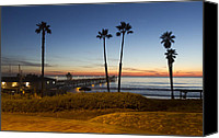 Clemente Canvas Prints - San Clemente Pier at Sunset Canvas Print by Barbara Eads