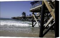 Clemente Canvas Prints - San Clemente Pier Canvas Print by Joenne Hartley