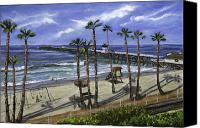 Train Painting Canvas Prints - San Clemente Pier Canvas Print by Lisa Reinhardt