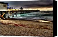 Clemente Painting Canvas Prints - San Clemente Pier Sunset Canvas Print by Ronald Bodtcher