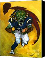 San Diego Mixed Media Canvas Prints - San Diego Charge Football  Canvas Print by Christopher  Chouinard