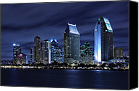 Bay Photo Canvas Prints - San Diego Skyline at Night Canvas Print by Larry Marshall
