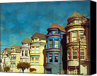 City Scapes Canvas Prints - San Fran Row Houses Canvas Print by Sonja Quintero