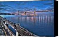 Bay Bridge Canvas Prints - San Francisco Bay Bridge at dusk Canvas Print by Scott Norris