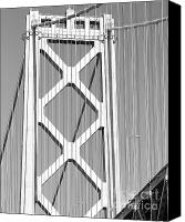 Bay Bridge Canvas Prints - San Francisco Bay Bridge at The Embarcadero . Black and White Photograph . 7D7760 Canvas Print by Wingsdomain Art and Photography