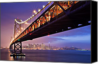 San Francisco Photo Canvas Prints - San Francisco Bay Bridge Canvas Print by Photo by Mike Shaw