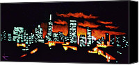 Skylines Painting Canvas Prints - San Francisco Black Light Canvas Print by Thomas Kolendra