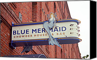Corner Cafe Canvas Prints - San Francisco Blue Memaid Canvas Print by Frank Romeo
