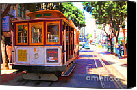 Powell Street Digital Art Canvas Prints - San Francisco Cable Car at The Powell Street Cable Car Turnaround - 5D17962 - Painterly Canvas Print by Wingsdomain Art and Photography