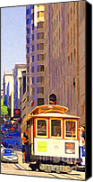 Powell Street Digital Art Canvas Prints - San Francisco Cable Car Coming Down Powell Street Canvas Print by Wingsdomain Art and Photography