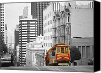 Mixed Media Digital Collage Canvas Prints - San Francisco Cable Car Canvas Print by Peter Art Prints Posters Gallery