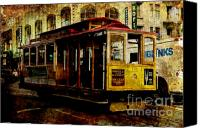 City Streets Canvas Prints - San Francisco Cable Car . texture Canvas Print by Wingsdomain Art and Photography