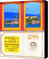 Powell Street Digital Art Canvas Prints - San Francisco Cablecar 28 . Alcatraz Canvas Print by Wingsdomain Art and Photography