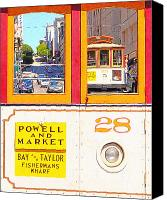 Powell Street Digital Art Canvas Prints - San Francisco Cablecar 28 . Cablecar Down Powell Street Canvas Print by Wingsdomain Art and Photography